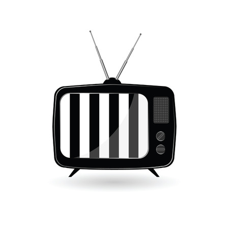 flick: old tv ith black and white line vector illustration