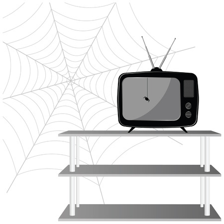 old tv with spider vector illustration on a white background Vector