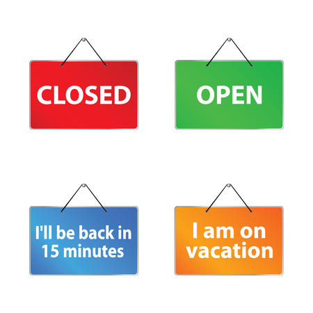 shopsign: open and closed signs vector illustration art with two more sign