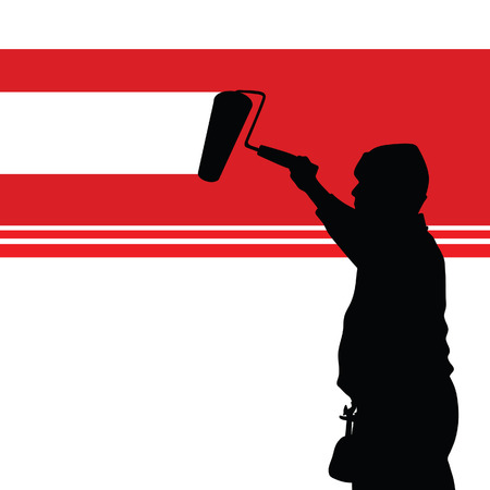redecorate: painting red wall illustration and worker black silhouette Illustration