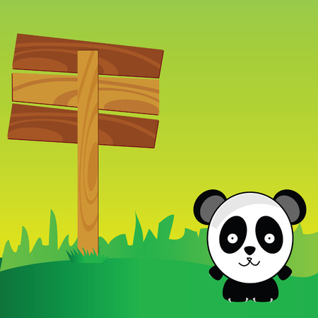 panda with signboard in the nature art color vector illustration Vector