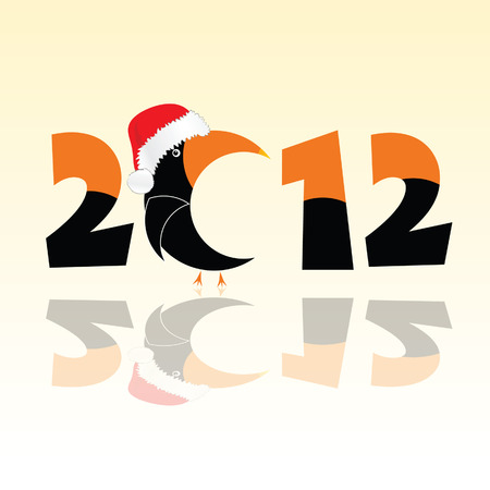 clicker: parrot in 2012 year vector illustration in black and orange color Illustration