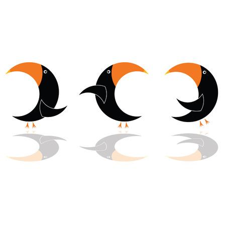 vertebrate: parrot in black color three vector illustration