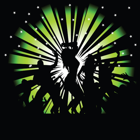 party and disco people vector silhouette illustration on a black background photo tree Vector