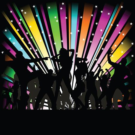 partij en disco mensen vector silhouet illustratie op een zwarte achtergrond