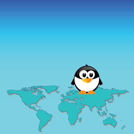 penguin and map of the world art vector illustration Vector