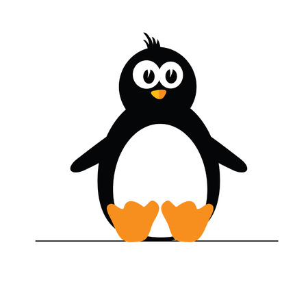 polar climate: penguin color vector illustration