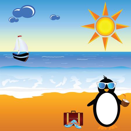 coconut milk: penguin with coconut milk on the paradise beach vector