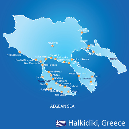 Peninsula of Halkidiki in Greece map on blue background