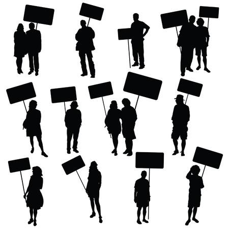 Persone in possesso di bordo bianco silhouette vettoriale su bianco Archivio Fotografico - 34056596