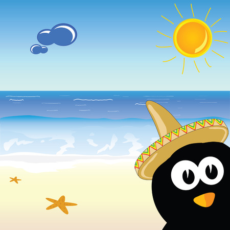 penguin on the paradise beach vector illustration Vector