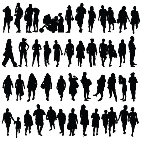 white people: people black color silhouette vector on white background