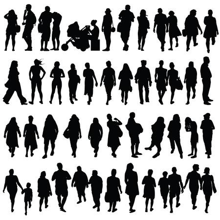 Persone di colore nero silhouette vettoriale su sfondo bianco Archivio Fotografico - 34056545