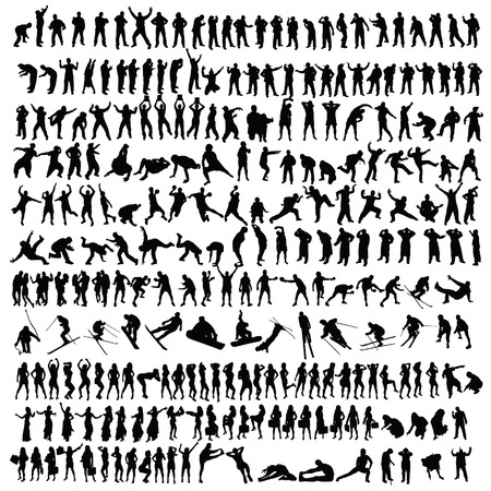 people man and girl black silhouette vector illustration