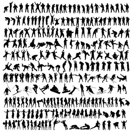 mensen man en meisje zwart silhouet vector illustratie