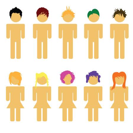 illustrazione uomo: persone capelli illustrazione uomo e donna su bianco Vettoriali