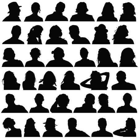 people head black silhouette vector on white background  イラスト・ベクター素材