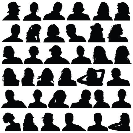 Les gens la tête vecteur de silhouette noire sur fond blanc Banque d'images - 34056552