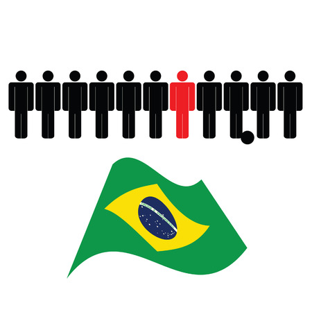 brasil: people icon with brasil flag color vector Illustration