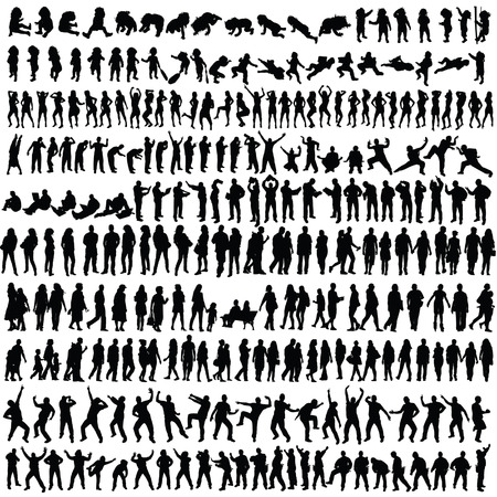 people man and woman and baby silhouette vector on white  イラスト・ベクター素材