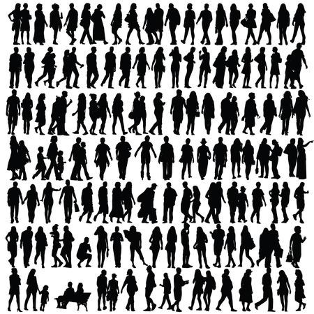 yürüyüş: insanlar siyah vektör kız ve erkek yürüme illüstrasyon siluet Çizim