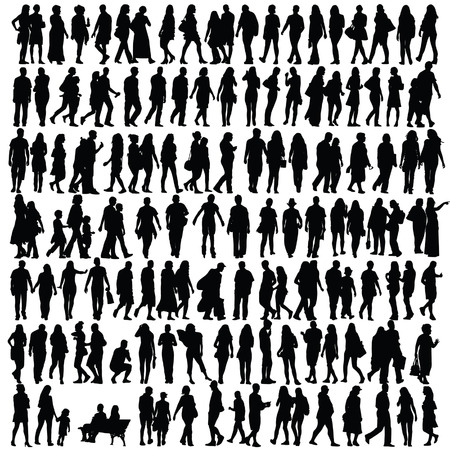 caricature woman: people silhouette black vector girl and man walking illustration Illustration