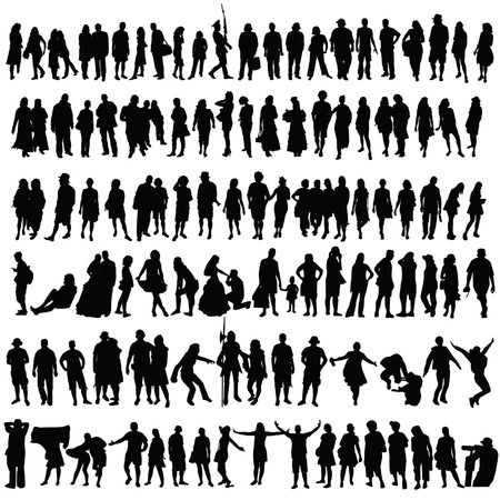 caricature woman: people vector black silhouette man and woman