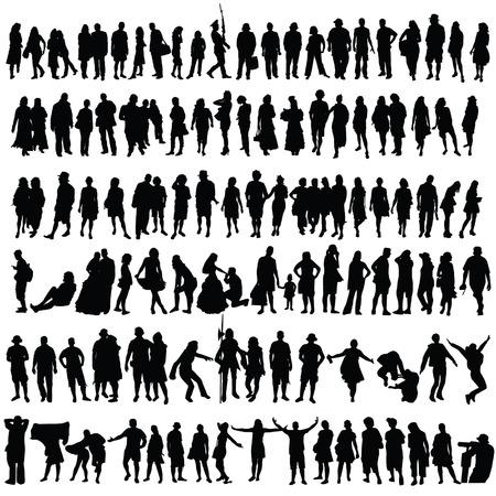 silhueta: Povos do vetor da silhueta do homem negro e da mulher Ilustração