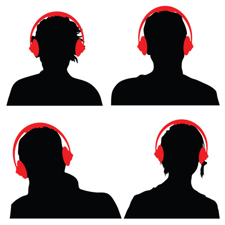 people with red color headphones black silhouette Vector