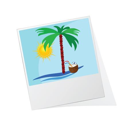 photo frame with beach icon vector illustration Ilustração Vetorial