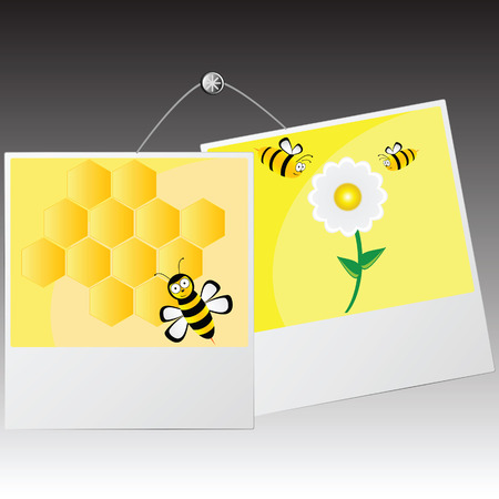 character traits: photo frame with cute bee vector illustration Illustration