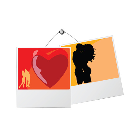 photo frame with love couple vector illustration Vector