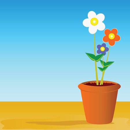 plant pot: pot flowers vector illustration on  a color background