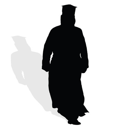 clergy: priest in black art vector illustration silhouette with white