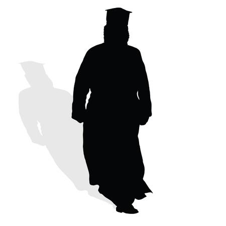 clergy: sacerdote en el arte negro ilustraci�n vectorial silueta con blanco Vectores