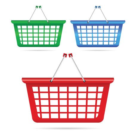 basket: shopping basket vector illustration in three color