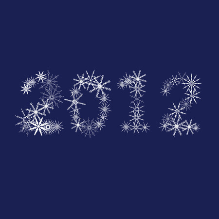 clicker: snowflake 2012 vector illustration on blue background Illustration