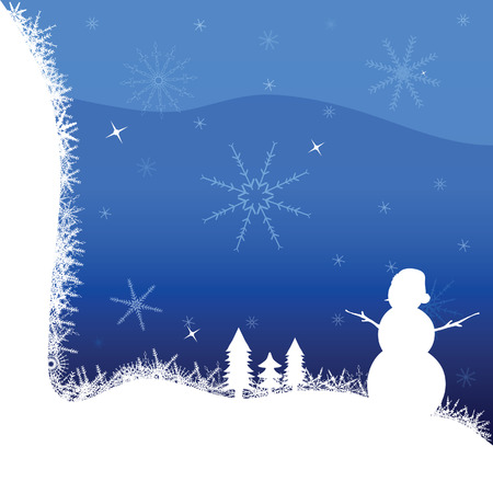 yule tide: snowman and winter vector illustration