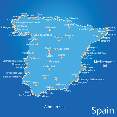 Spain Map Art Vector Illustration On Blue Background Royalty Free