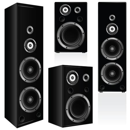 speaker in black color vector illustration on white background