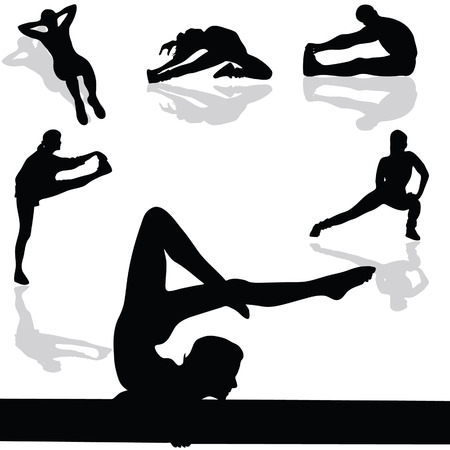yoga girl: sports and gymnastic exercises black vector silhouette