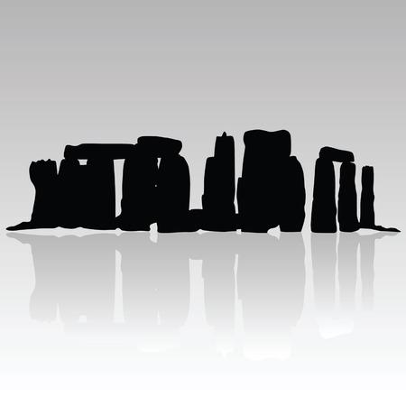 monolith: stonehenge silhouette art vector illustration in black