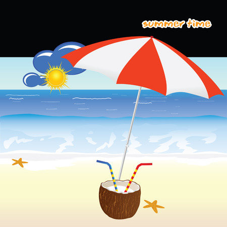 summer time: summer time with coconut art vector illustration