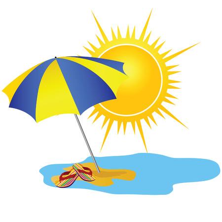 sun and paradise beach cartoon vector illustration Ilustração