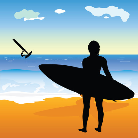 sexes: surfing people and beach of art illustration