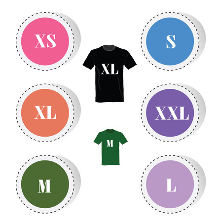size: t-shirt and size color art vector illustration
