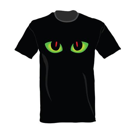 ojo de gato: camiseta con ojo de gato en la ilustraci�n del vector que Vectores