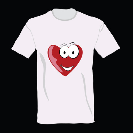 wedding dress back: t-shirt with heart on it vector illustration Illustration