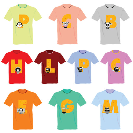 T-shirts with pictures of animals and words on it vector illustration Vector