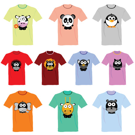 T-shirts with pictures of animals vector illustration Vector